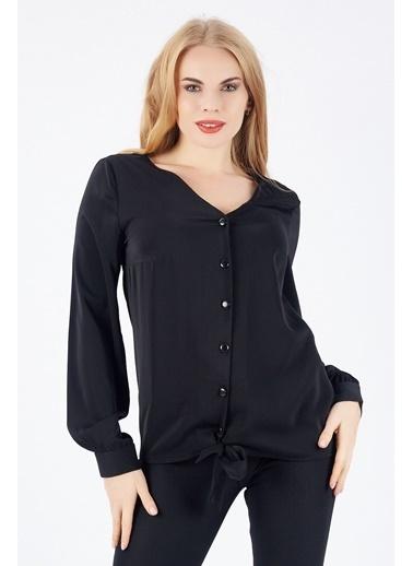 Sense Sense  Eteği Kuşaklı Manşetli Önü Düğmeli Bluz  Blz  Siyah